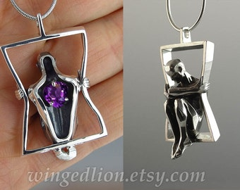 You Have My Heart silver pendant with Amethyst - Ready to ship