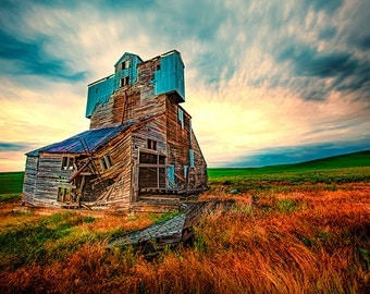 Weathered Grain Elevator - Palouse Photography - Rural Decay - Landscape Photo - Sunrise - Americana - Farming - Agriculture