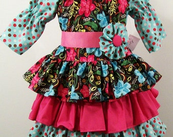 Girls 3 ruffle Dots and Floral Peasant Dress  girls Clothing Little Girls Dress handmade Made in the USA #236
