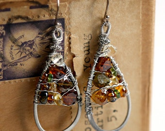 Autumn - Strung-Out guitar string teardrop earrings with tourmaline and citrine