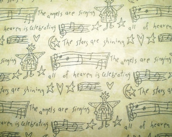 "Moda Angel and music fabric- gold tone Christmas angel print- Sandy Gervais ""Pieces from my Heart"" Moda fabric- 37 inches angel print"