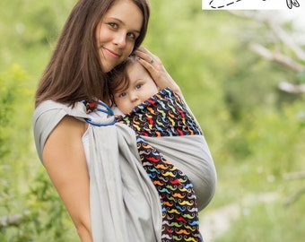 Sewfunky Designer Adjustable Baby Sling certified organic cotton Mustashio on Grey