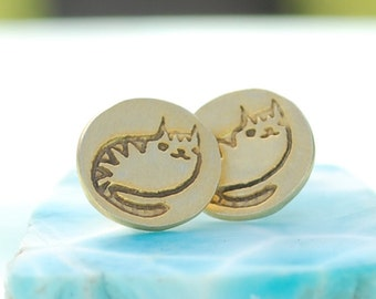 CAT earrings, eco-friendly silver studs, Illustration by BOYGIRLPARTY. Handcrafted by Chocolate and Steel