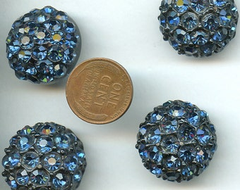 """DEEP BLUE Rhinestone Buttons Set Lot (4) Matching Vintage Metal Buttons Chunky Domed 7/8"""" size 2452"""