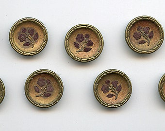 """Victorian Perfume FLOWERS Floral CHOCOLATE Buttons Matching Set of (9) Antique Metal Perfume Velvet Brass 5/8"""" size 2470"""