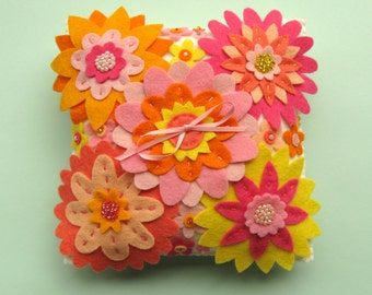 Felt Flower Ring Pillow, beaded felt flowers, wedding, pink, yellow, orange, peach, coral