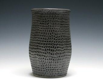Dark Charcoal Gray Vase, Black Vase, Ceramic Vase, Handmade Pottery Vase