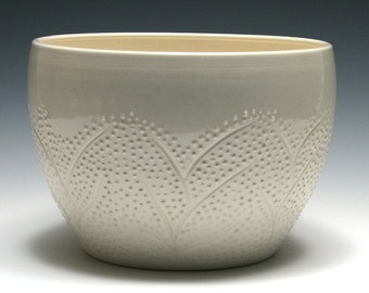 Large White Bowl with Branch and Dot Design