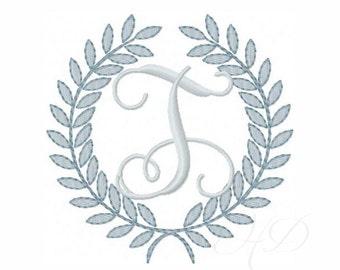 Laurel Wreath Embroidery Design Instant Download Font 4x4 5x7 6x10 BX