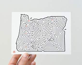 "OREGON Map Maze 5x7"" Postcard 