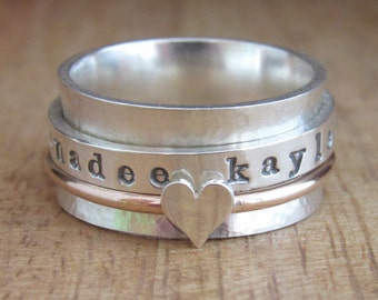 Gold Spinner Ring Personalized Ring Sterling Silver Jewelry Hand Stamped Ring