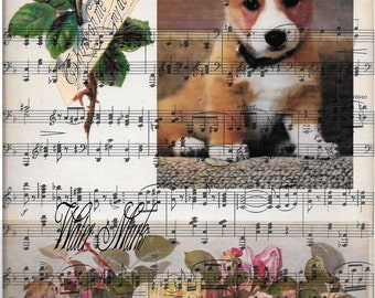 Dog*Dogs*Corgi puppy*Sheet music  think of me my dear one roses collage***Quilt art fabric block*Quilts,Pillows,Sachets,Frame