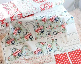 """Riley Blake Wiltshire Daisy Auqua and Red  1/2 yard panel for 18"""" doll outfit Waldorf dolls or American Girl"""