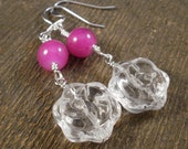 Crystal glass rose beads with fushia pink silver handmade earrings