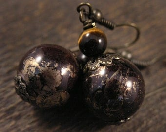 Dark brown and metallic gold beads, tiger eye stone and antique brass handmade earrings
