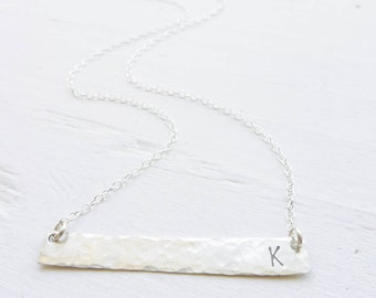 Sterling Silver Bar Necklace Silver Initial Hammered Jewelry Minimalist Necklace Personalized Bridesmaid Gifts Monogrammed Gifts