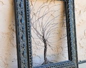 Framed wall art / wire tree sculpture  Unique Art Object Large Tree Abstract Sculpture ... Wire trees in heavy ornate Victorian black frame