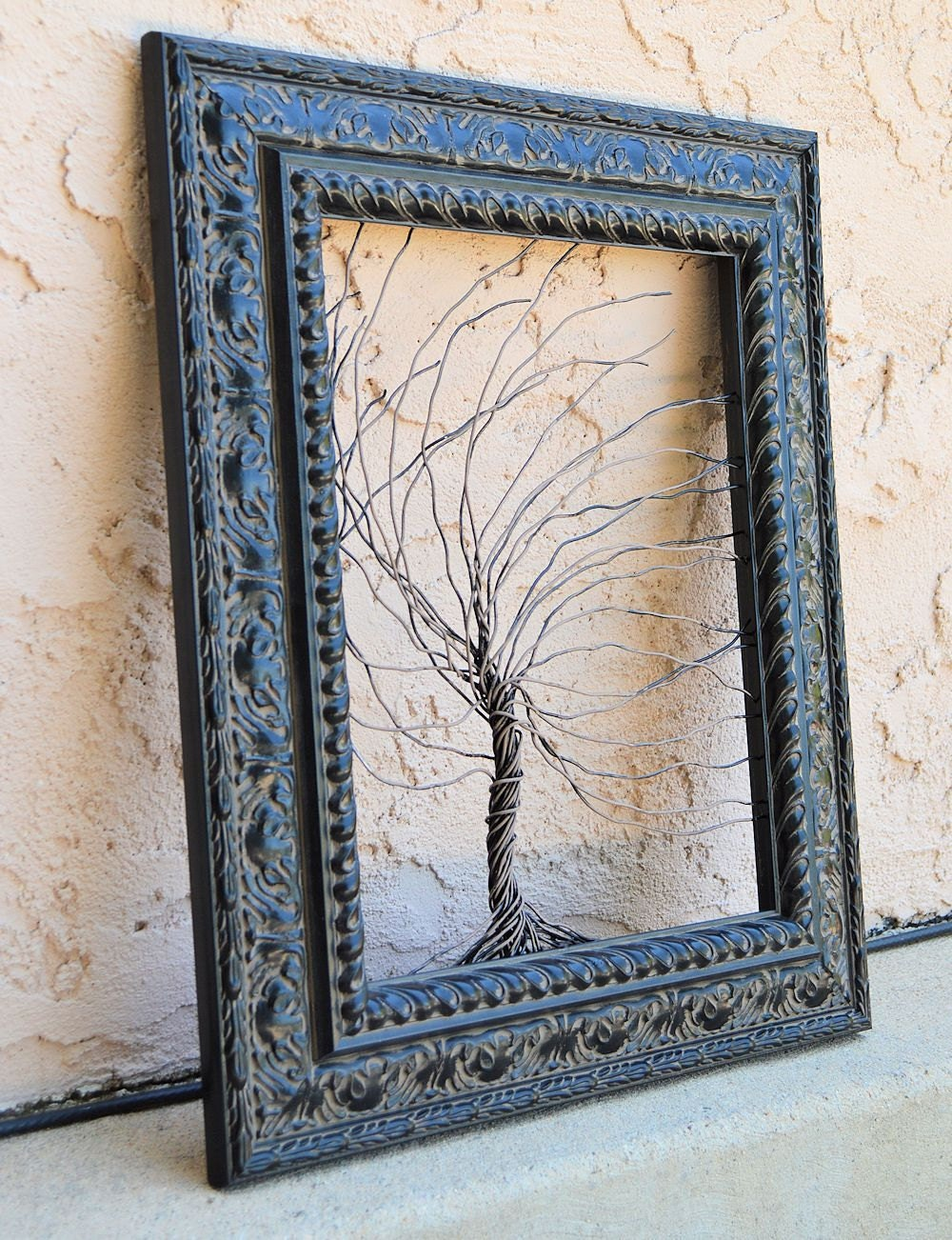 Framed wall art / wire tree sculpture Unique Art Object Large