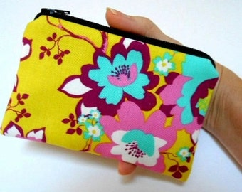 SALE Padded Zipper Pouch Coin Purse ECO Friendly NEW Yellow Pop Floral
