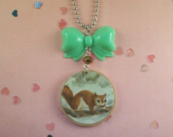Squirrel Bow Necklace
