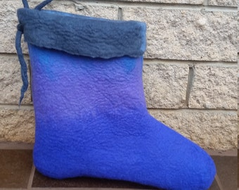 Blue hand felted Christmas stocking