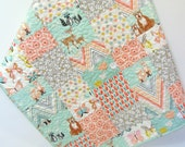 Woodland Baby Girl Quilt Hello Bear Deer Nursery Bedding Butterflies Crib Bedding  Aqua Apricot Peach Forest Animals