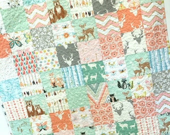 Baby Girl Quilt Woodland Hello Bear Deer Nursery Bedding Butterflies Crib Bedding Scrappy OOAK  Mint Apricot Peach Forest Animals