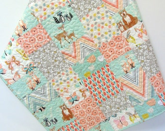 Woodland Baby Girl Quilt Hello Bear Deer Nursery Bedding Butterflies Crib Bedding  Aqua Apricot Peach Forest Animals