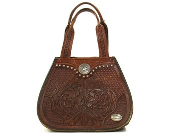 American West Tooled Leather Purse / Vintage 1990s Studded Western Bag / Southwestern Small Brown Leather Satchel / Hippie Boho Bohemian