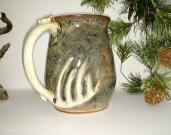 18 ozhandmade stoneware pottery mug for the deer hunter coffee camoflauge 023