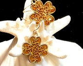 Celtic Knot Earrings, Four Leaf Clover Celtic Earrings, Brown Dangle Earrings, 1970 Celtic Earrings, Christmas Gift