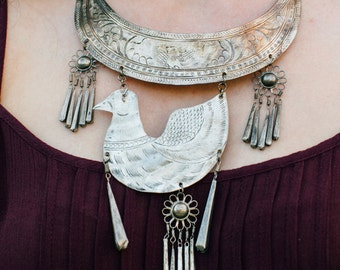 Vintage Tribal Bird Collar Necklace