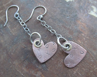 Long HEART Earrings Stamped Valentines Day Funky Sterling Riveted Long dangling earrings