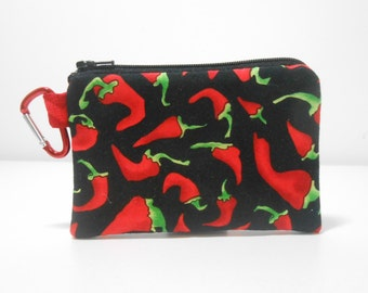Chili Pepper Carabiner Coin Purse, Red Chili Pepper Change Purse, Black Coin Purse