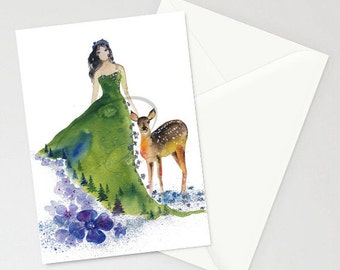 Greeting Card - Tenderness - Nature Lady, Deer, Partner, Mountain, Watercolor Art Painting