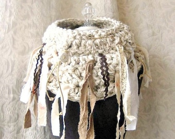50% Off Sale - On-the-Fringe Cowl - Crocheted - Oversized Chunky Cowl - One of a Kind