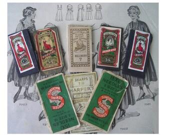 Nine Vintage Sewing Needle Books