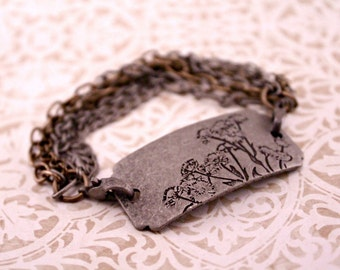 Silver Oxidized 7 Inch Stamped Bracelet Queens Anne's Lace