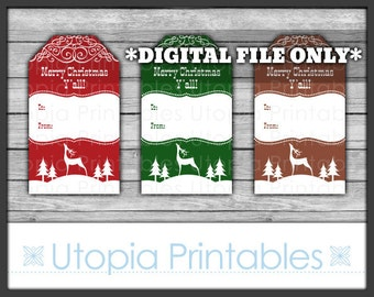 Western Christmas Gift Tags Merry Christmas Y'all Country Rural Theme Winter Old West Digital Printable Instant Download Rustic Deer Yall