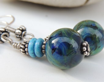 Lagoon Handmade Lampwork Bead Dangle Earrings