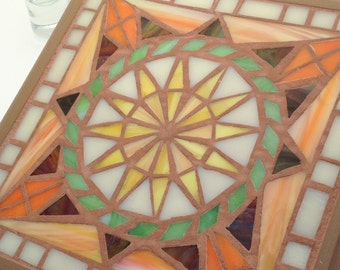 Trivet and Wall Art, Stained Glass Mosaic - Sun Mandala Star Design - Multifunctional Art - Orange and Yellow Functional Art Decor