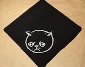 Black cotton handkerchief hand printed Sad Allergic cat