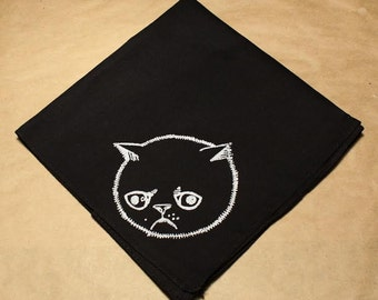 Black cotton handkerchief hand printed Sad Allergic cat