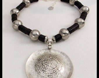NIGERIA - Handcast Dramatic Pendant - Handmade Nigerian Silver & African Vulcanite Necklace