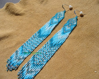 Native American Style Brick Stitched  Shoulder Duster earrings in a Blue Ombre style