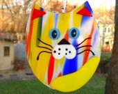 Fused Glass Cat Suncatcher, Yellow, Red and Blue Fused Glass Cat, Cubby Cat Suncatcher, Kitten Suncather, Mardi Gras Cat