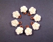 RESERVED for Cammie ONLY - 8 White Resin Rose Charms, Jewelry Supplies, FREE Shipping U.S.