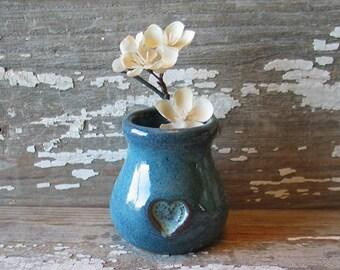 Heart Jar - Valentine - Bud Vase - Small flower vase - mommy vase - corked jar