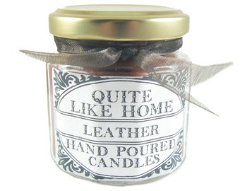 Leather scented 4 oz. jar candle with gold lid, and organza ribbon. Manly, men, leather and lace, groomsman gift, cowboy, saddle, father