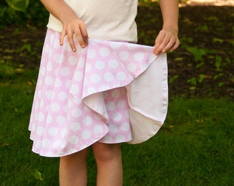 SALE Skort and skirt girls sewing pattern sizes 2-14 for knit fabrics